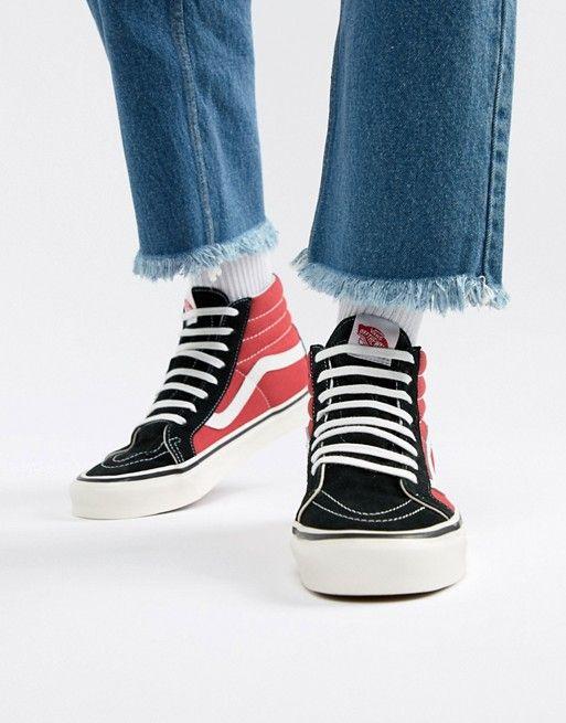 Vans Sk8 Hi 38 Dx Anaheim Sneakers In Red Vn0a38gfubs1 Vans Old Skool Trainers Vans Sk8 Hi Outfit Vans Sk8