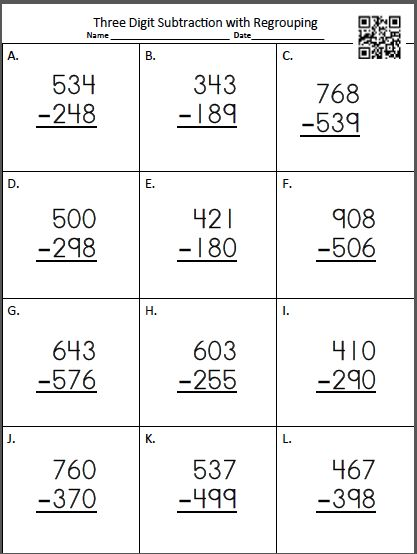 math worksheet : video explaining how to regroup! mrs samuelson s swamp frogs  : Three Digit Subtraction With Regrouping Worksheet