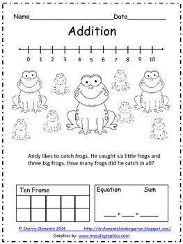Number Names Worksheets addition problems for kindergarten : Equation, Words and Frogs on Pinterest