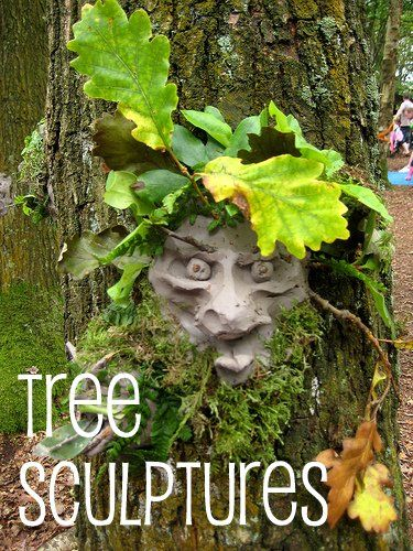 tree sculptures - I'm making these out of air dry clay with the kids! If you dry the clay then paint it with a waterproofer, it'll be grand!