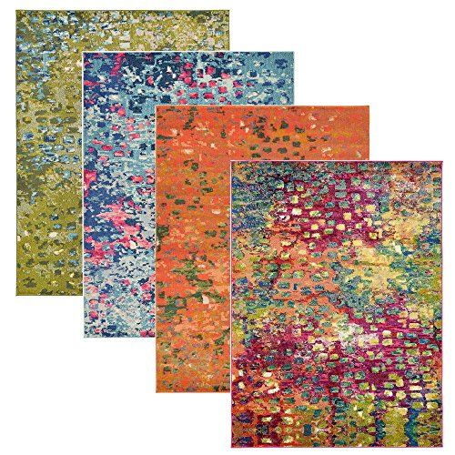 Barcelona Multi Color Geometric Modern Rugs Painting Area Rug Contemporary Brush Stroke Thick Soft Plush Rugs In Many Size And Colour Home Decor First Painted Rug Rugs Contemporary Area Rugs
