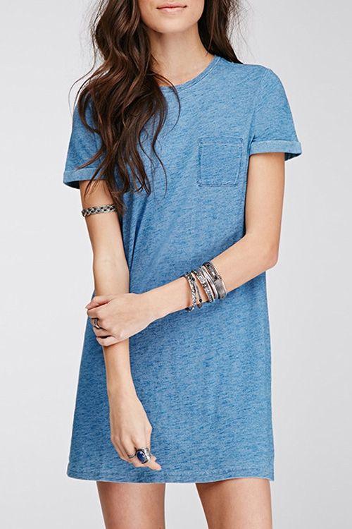 Solid Color Pocket Round Collar Short Sleeves Dress