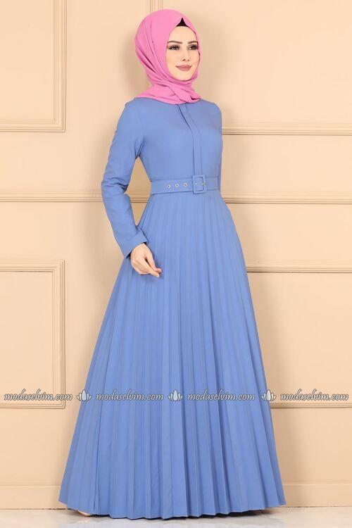 Modaselvim Elbise Piliseli Kemerli Elbise 2185ms212 Mavi Elbise Elbiseler Kiyafet