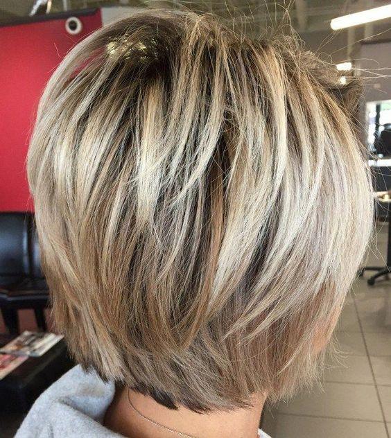 Layered Blonde Balayage Bob #shortbobhairstyles