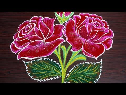 Beautiful Rose Rangoli For New Year 2019 Colour Kolam For Pongal Amp Margazhi Sankran Small Rangoli Design Simple Flower Rangoli Free Hand Rangoli Design