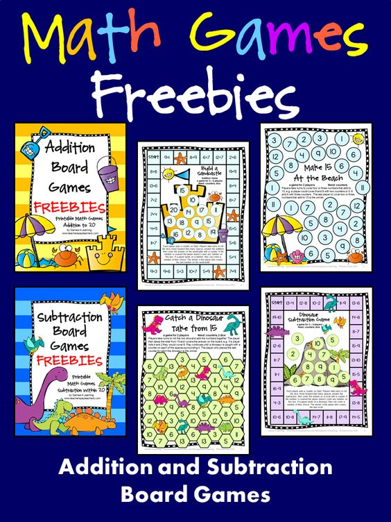 FREEBIES! Addition and Subtraction Math Board Games - Just print ...