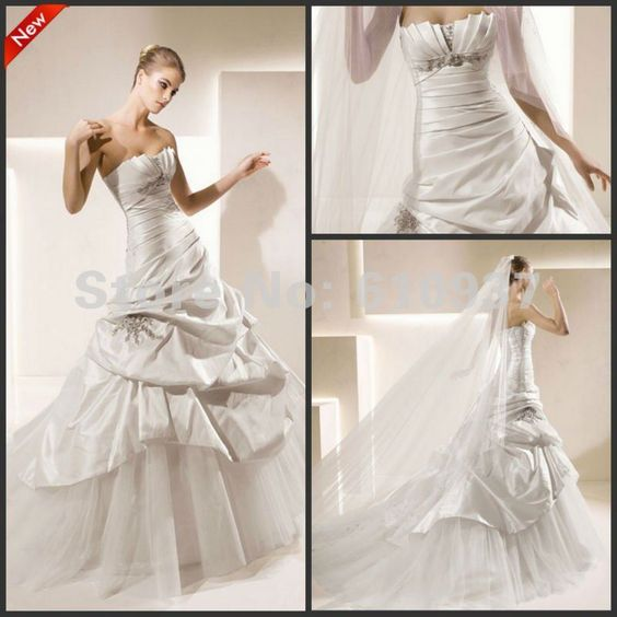 New Arrival!Hot Sale!Wholesale!Retail!Strapless Crumb Catcher Neckline Ruched Bodice Satin Ball Gown Wedding Dress WD-0072