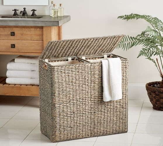 Divided Perry Laundry Hamper Pottery Barn In 2020 Hamper