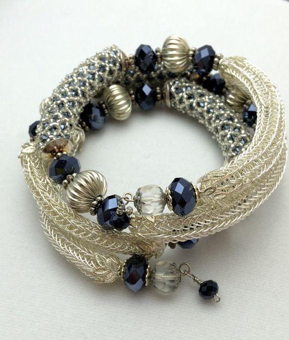 Viking Knit Bracelet Wire Wrap Bracelet Bead by BeadBrainDesigns