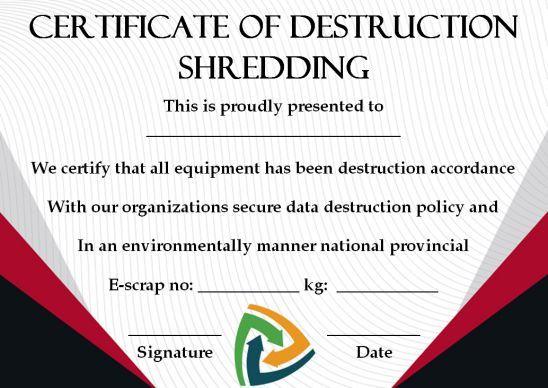 10 Hard Drive Certificate Of Destruction Templates Useful