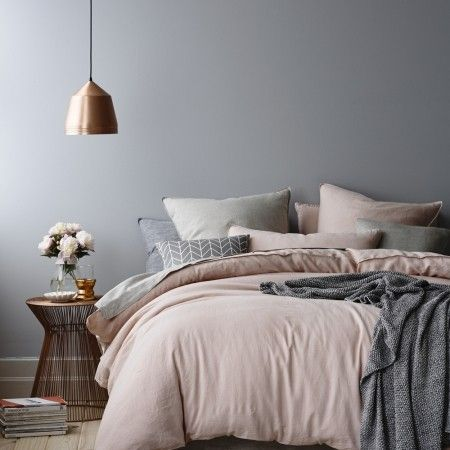 Rose gold bedroom ceiling light, rose gold tea light holder in grey and blush pink bedroom. For more like this, click the picture or see www.redonline.co.uk