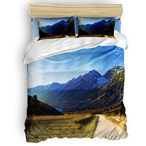 King Size 4 Piece Duvet Cover Set Beautiful Mountains Scenery Fade