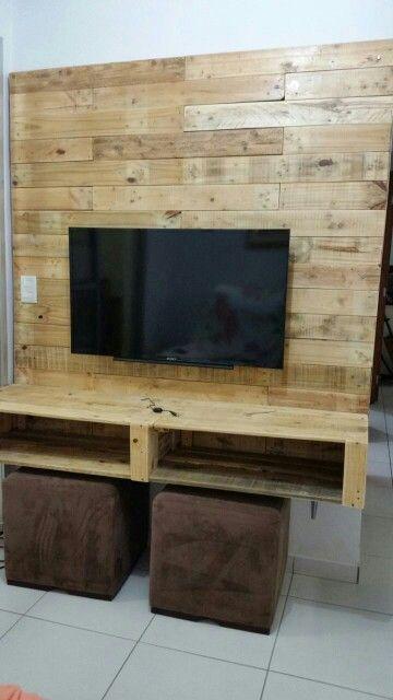 painel de tv feito de paletes