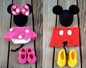 PDF Crochet Mouse Outfit Photo Prop Set - 3 Patterns in 1 - Newborn to 18 Months - Permission To Sell Finished Items - Photography Prop. $5.95, via Etsy.