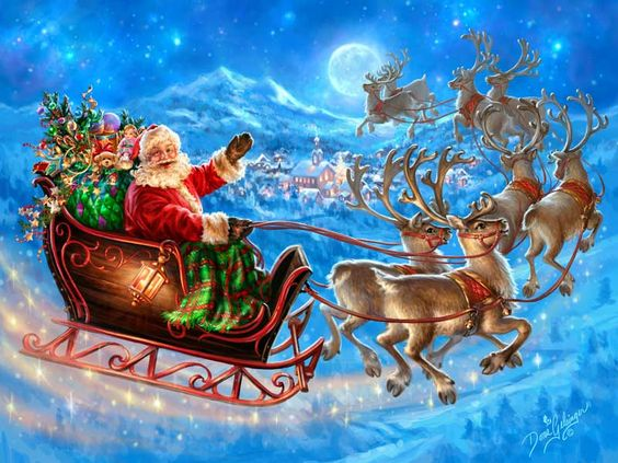 "Dona Gelsinger ""Santa's Magical Flight"" (with plaid):"