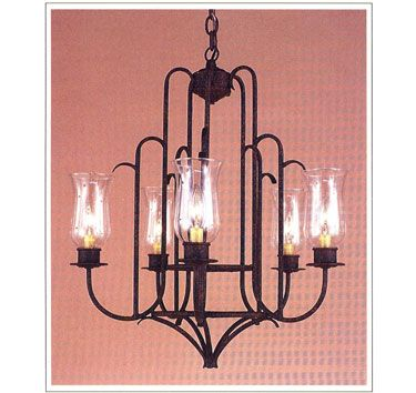 """6082  FIVE LIGHT IRON CHANDELIER FINISH SHOWN: INDIAN SUMMER SHADE: HURRICANE GLASS WITH ANTIQUE PAPER CANDLE MAXIMUM WATTAGE: 300 CANDELABRA BASE SOCKETS  HT 25"""" W 22"""""""