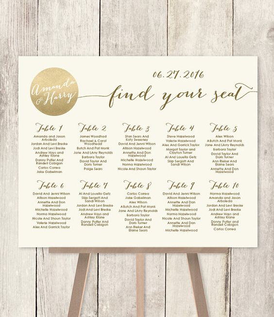 Wedding Seating Chart Sign DIY // Gold Sparkle Wedding Sign // Metallic Gold and Cream // Find Your Seat // Printable PDF ▷ Customized Sign