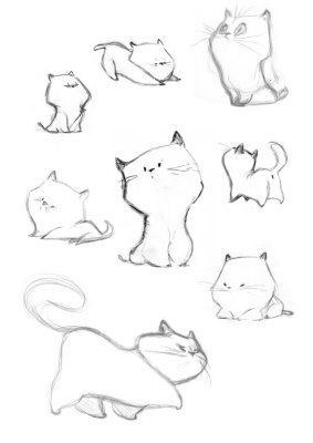 Shows how just the right shape can give a drawing character even with just a few lines. Caroline Piochon cats