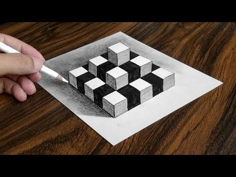 How To Draw Chess Pyramid On Paper Easy 3d Trick Art Drawing
