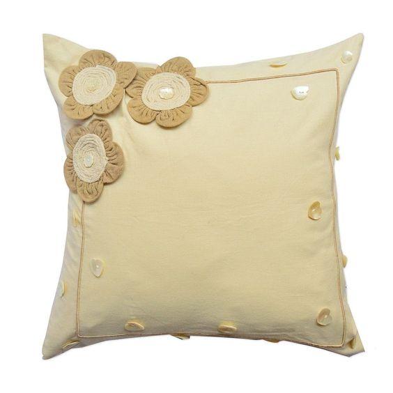 Beige Felt Flower 18-inch Throw Pillow
