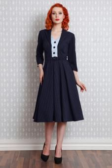 "Miss Candyfloss navy blue pinstripe dress ""Tanya-Lee"", sizes S - XL, 109 EUR."