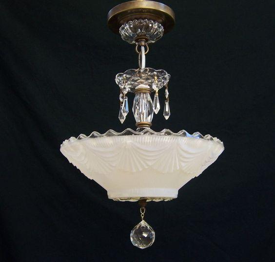 Vintage Art Deco Ceiling Light Fixture Chandelier Elegant ...