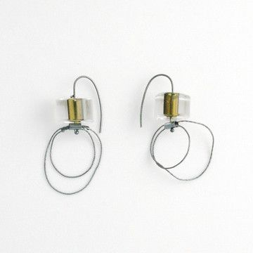 SkLOÊdesignersÊand a team of master glassblowers craft stunning glass jewelryÑelegant, modern creations in the Czech tradition of handmade glass. Each Olivin Cut Earring features a handblown glass bead and sterling silver hoop accent, creating a chic design with an industrial edge.