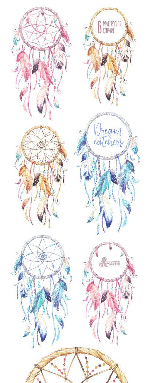 dreamcatchers aquarell clipart tribal federn diy logo einladung f nger pink blau boho. Black Bedroom Furniture Sets. Home Design Ideas