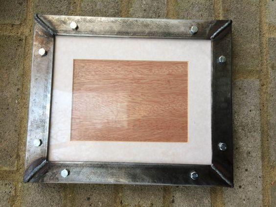 "Industrial handmade welded metal steel picture frames - 29cm x 24cm / 11"" x 9""…"