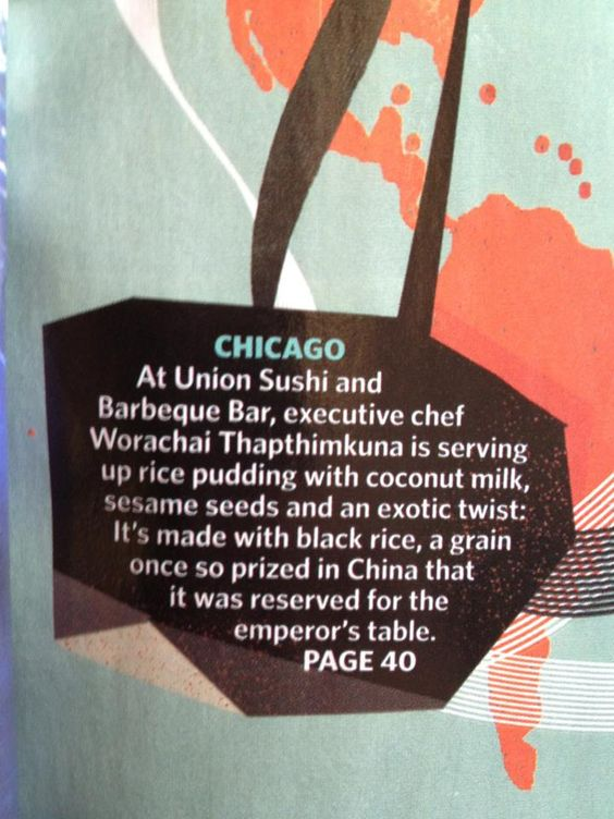 Awesome to see Union Sushi + Barbeque Bar on the front page global map on all United Airlines flights!