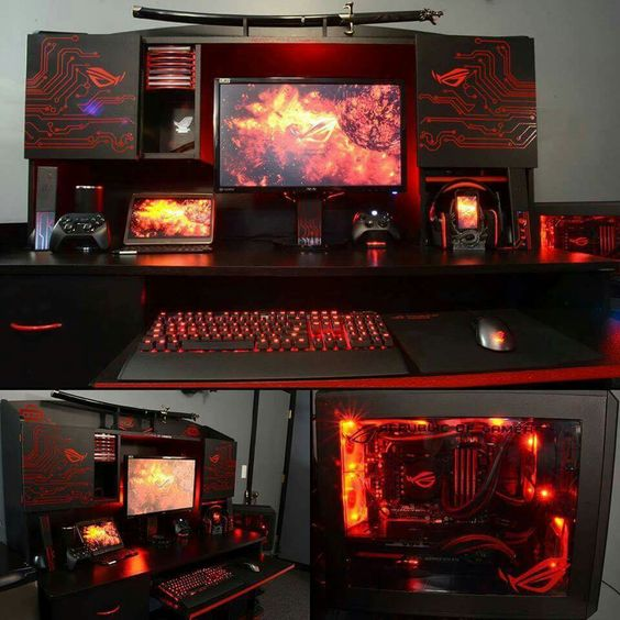 Futuristic red black computer desk setup