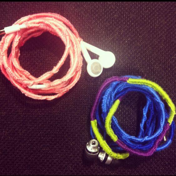 Our headphones, tangle free!!