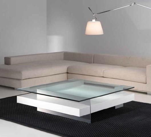Mesa de centro en blanco y cristal mesas de centro for Mesas de living