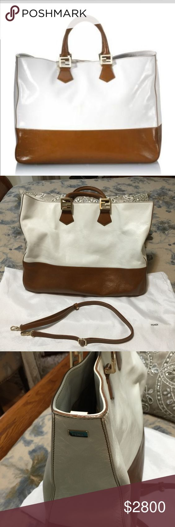 Authentic fendi twin bag just gorgeous This bag is hot hot hot love it. Two toned clean white and Carmel FENDI Bags Shoulder Bags