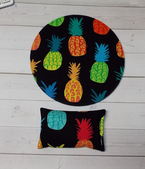 pineapple mouse pad  mousepad  mat  wrist rest set  by Laa766  chic / cute / preppy / computer, desk accessories / cubical, office, home decor / co-worker, student gift / patterned design / match with coasters, wrist rests / computers and peripherals / feminine touches for the office / desk decor