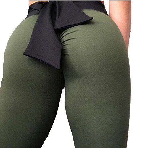 Women Push Up Yoga Leggings Workout High Waist Gym Sport Bow-Knot Pants Trousers