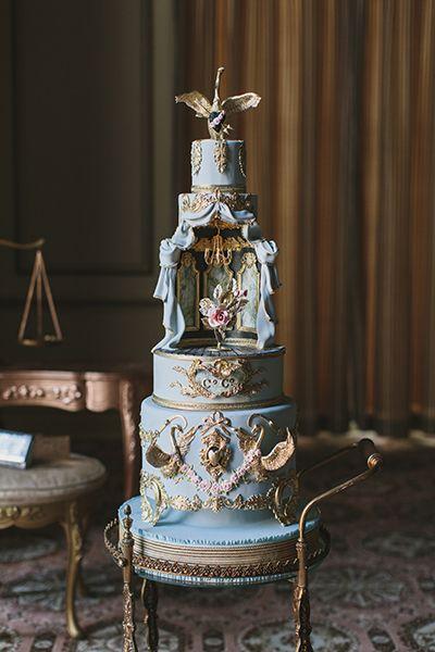 Operatic wedding cake designed by Cake Opera Co.