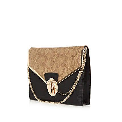 Black snakeskin print clutch bag