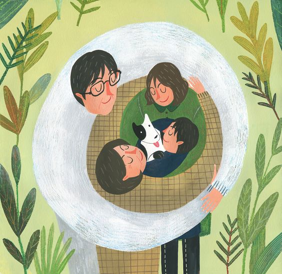 Jimin Yoon - family illustration - dad mom two kids and puppy: