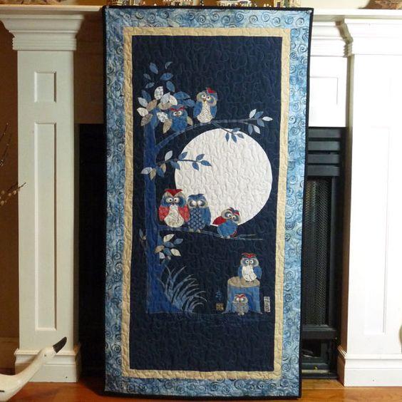 Owl Quilt Japanese Asian Quilts Bird Wall by DesignerDahliasEtc, $135.00