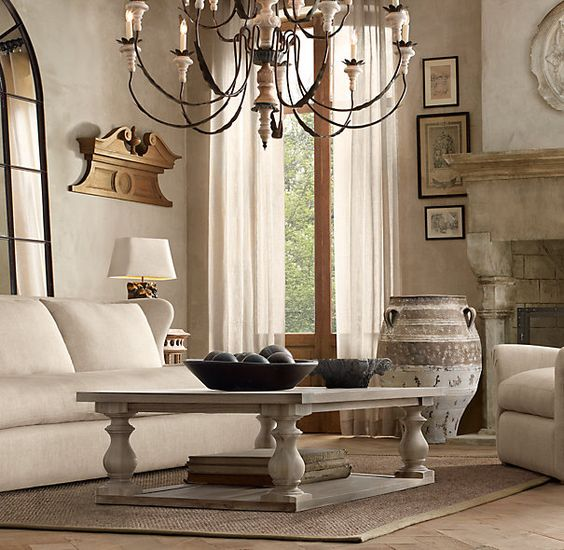 Restoration Hardware Apartment: 17th C. Monastery Coffee Table In Grey $695 For Small Size
