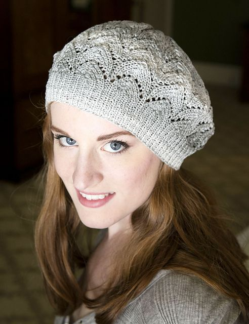 Lace Beret design by Vanessa Ewing in Plymouth Yarn Driftone My Designs P...