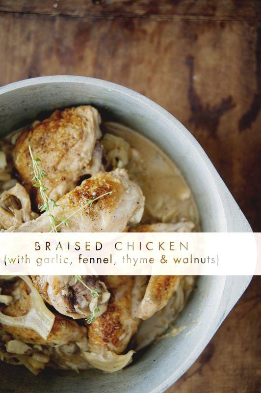 Dinner party recipes (or not): Braised Chicken w garlic, fennel, thyme & walnuts, Quinoa Tabbouleh, Roasted Cauliflower w Salsa Verde, Cheese Platter, Affogato.