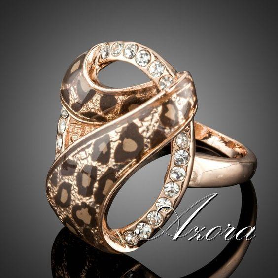 Anillo diseño leopardo color marrón Hermoso anillo de mujer diseño leopardo color marrón, chapado en oro rosa de 18K y adornado con cristal austriaco.