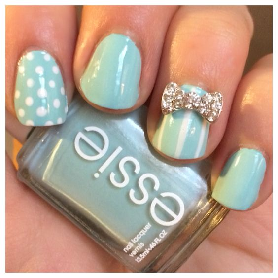 """My Tiffany Blue Bow Nails! """"Mint Candy Apple"""" by Essie"""