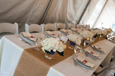 """13"""" x 120"""" Burlap table runners with square ends. Available in natural or cream white burlap, 100% refined Jute. Chic, rustic, elegant setting for any occasion. Very ..."""