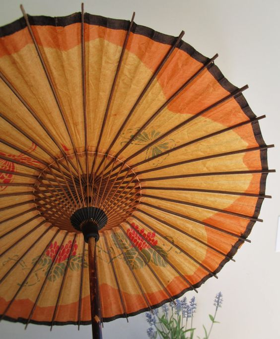 Japanese Sun Umbrella: Rice Paper Parasol w/ Floral & Butterfly Designs by bradburytheghost on Etsy https://www.etsy.com/listing/229595367/japanese-sun-umbrella-rice-paper-parasol