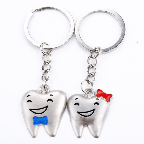 Cute Silver Tooth Keychain with Ribbon