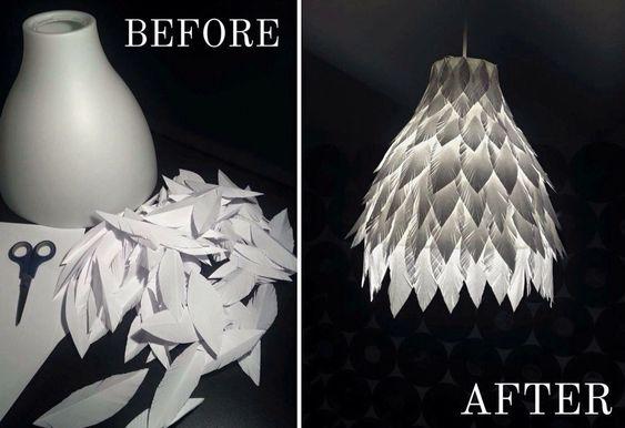My new handmade DIY paper feather lamp