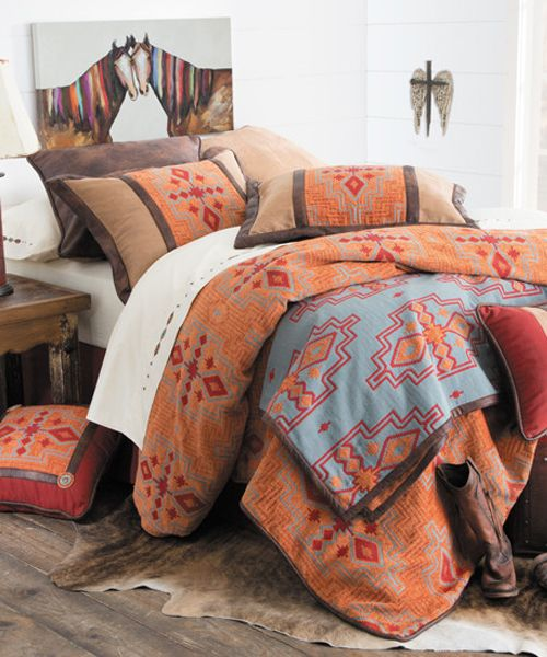 Southwestern Bed Set In Geometric Patterns In Southwest Colors Western Bedding Southwestern Bedding Southwest Bed Sets